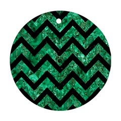 Chevron9 Black Marble & Green Marble (r) Ornament (round) by trendistuff
