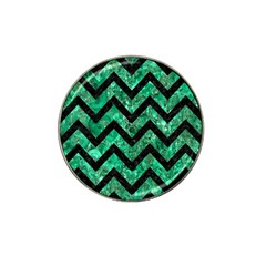 Chevron9 Black Marble & Green Marble (r) Hat Clip Ball Marker (4 Pack) by trendistuff