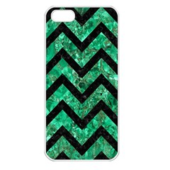 Chevron9 Black Marble & Green Marble (r) Apple Iphone 5 Seamless Case (white) by trendistuff