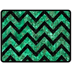 Chevron9 Black Marble & Green Marble (r) Double Sided Fleece Blanket (large)