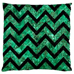 Chevron9 Black Marble & Green Marble (r) Large Flano Cushion Case (one Side) by trendistuff