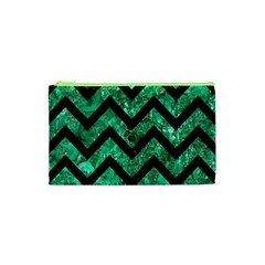 Chevron9 Black Marble & Green Marble (r) Cosmetic Bag (xs) by trendistuff