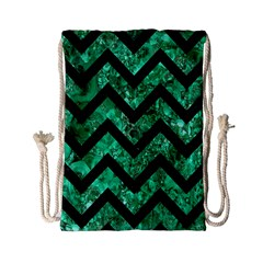 Chevron9 Black Marble & Green Marble (r) Drawstring Bag (small) by trendistuff
