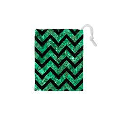 Chevron9 Black Marble & Green Marble (r) Drawstring Pouch (xs)