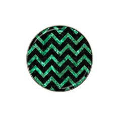 Chevron9 Black Marble & Green Marble Hat Clip Ball Marker by trendistuff