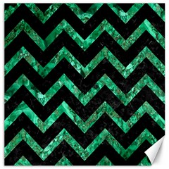 Chevron9 Black Marble & Green Marble Canvas 20  X 20  by trendistuff