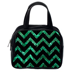 Chevron9 Black Marble & Green Marble Classic Handbag (one Side) by trendistuff