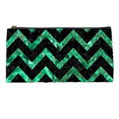 Chevron9 Black Marble & Green Marble Pencil Case by trendistuff