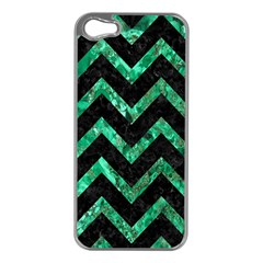 Chevron9 Black Marble & Green Marble Apple Iphone 5 Case (silver) by trendistuff