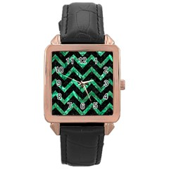 Chevron9 Black Marble & Green Marble Rose Gold Leather Watch