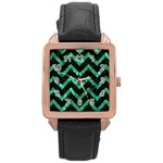 CHEVRON9 BLACK MARBLE & GREEN MARBLE Rose Gold Leather Watch  Front