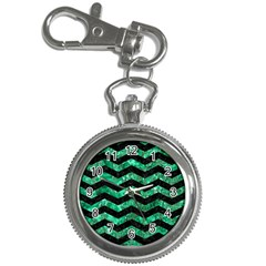 Chevron3 Black Marble & Green Marble Key Chain Watch