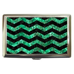 Chevron3 Black Marble & Green Marble Cigarette Money Case by trendistuff