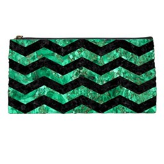 Chevron3 Black Marble & Green Marble Pencil Case