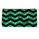 CHEVRON3 BLACK MARBLE & GREEN MARBLE Pencil Case Back
