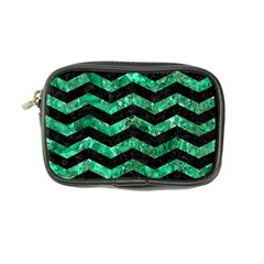 Chevron3 Black Marble & Green Marble Coin Purse by trendistuff