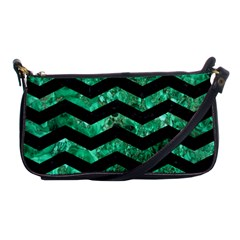 Chevron3 Black Marble & Green Marble Shoulder Clutch Bag by trendistuff