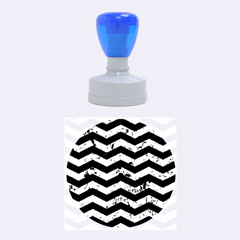Chevron3 Black Marble & Green Marble Rubber Stamp Round (medium)