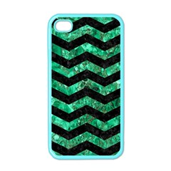 Chevron3 Black Marble & Green Marble Apple Iphone 4 Case (color) by trendistuff