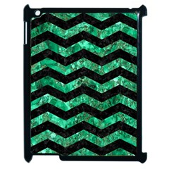 Chevron3 Black Marble & Green Marble Apple Ipad 2 Case (black) by trendistuff