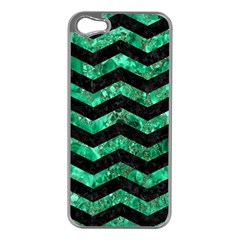 Chevron3 Black Marble & Green Marble Apple Iphone 5 Case (silver) by trendistuff