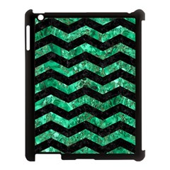 Chevron3 Black Marble & Green Marble Apple Ipad 3/4 Case (black) by trendistuff