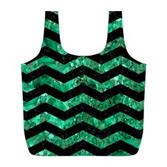Chevron3 Black Marble & Green Marble Full Print Recycle Bag (l) by trendistuff
