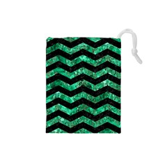 Chevron3 Black Marble & Green Marble Drawstring Pouch (small) by trendistuff