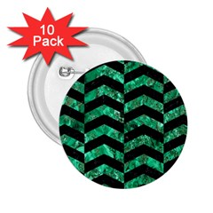 Chevron2 Black Marble & Green Marble 2 25  Button (10 Pack) by trendistuff