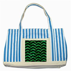 Chevron2 Black Marble & Green Marble Striped Blue Tote Bag