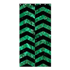 Chevron2 Black Marble & Green Marble Shower Curtain 36  X 72  (stall)