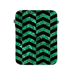 Chevron2 Black Marble & Green Marble Apple Ipad 2/3/4 Protective Soft Case by trendistuff