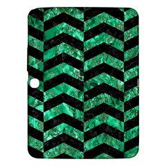 Chevron2 Black Marble & Green Marble Samsung Galaxy Tab 3 (10 1 ) P5200 Hardshell Case  by trendistuff
