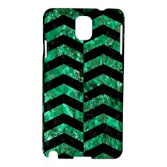 Chevron2 Black Marble & Green Marble Samsung Galaxy Note 3 N9005 Hardshell Case by trendistuff