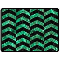 Chevron2 Black Marble & Green Marble Double Sided Fleece Blanket (large) by trendistuff