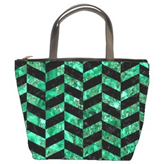 Chevron1 Black Marble & Green Marble Bucket Bag by trendistuff