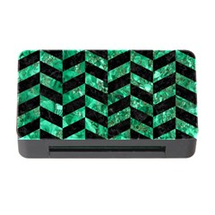Chevron1 Black Marble & Green Marble Memory Card Reader With Cf