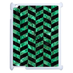Chevron1 Black Marble & Green Marble Apple Ipad 2 Case (white) by trendistuff