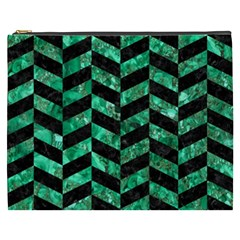 Chevron1 Black Marble & Green Marble Cosmetic Bag (xxxl) by trendistuff