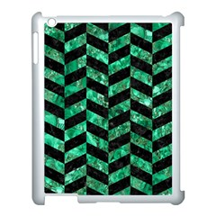 Chevron1 Black Marble & Green Marble Apple Ipad 3/4 Case (white) by trendistuff
