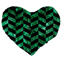 Chevron1 Black Marble & Green Marble Large 19  Premium Heart Shape Cushion by trendistuff