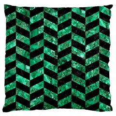 Chevron1 Black Marble & Green Marble Large Flano Cushion Case (one Side) by trendistuff