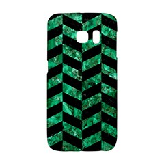 Chevron1 Black Marble & Green Marble Samsung Galaxy S6 Edge Hardshell Case by trendistuff