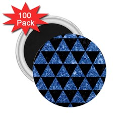 Triangle3 Black Marble & Blue Marble 2 25  Magnet (100 Pack)  by trendistuff