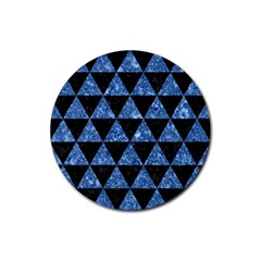 Triangle3 Black Marble & Blue Marble Rubber Round Coaster (4 Pack) by trendistuff