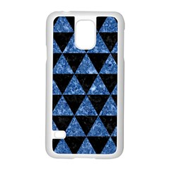 Triangle3 Black Marble & Blue Marble Samsung Galaxy S5 Case (white) by trendistuff