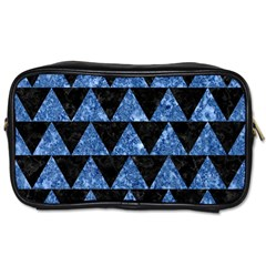 Triangle2 Black Marble & Blue Marble Toiletries Bag (two Sides) by trendistuff
