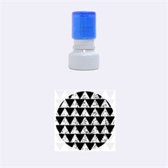 Triangle2 Black Marble & Blue Marble Rubber Stamp Round (small) by trendistuff