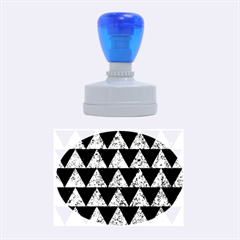 Triangle2 Black Marble & Blue Marble Rubber Stamp Oval by trendistuff