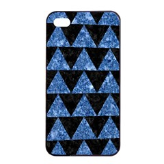 Triangle2 Black Marble & Blue Marble Apple Iphone 4/4s Seamless Case (black) by trendistuff